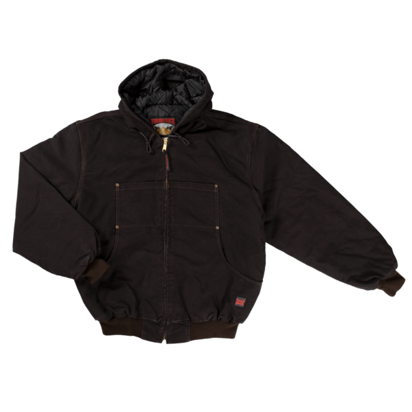 Tough Duck Mens Hooded Bomber Jacket Dark Brown Front View 5123