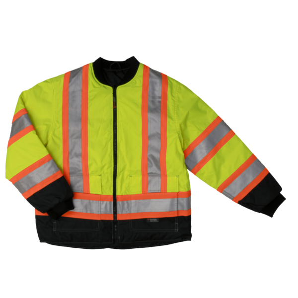 Work King Safety by Tough Duck Mens 4 in 1 Waterproof Breathable Safety Jacket Fluorescent Green Front Liner S187