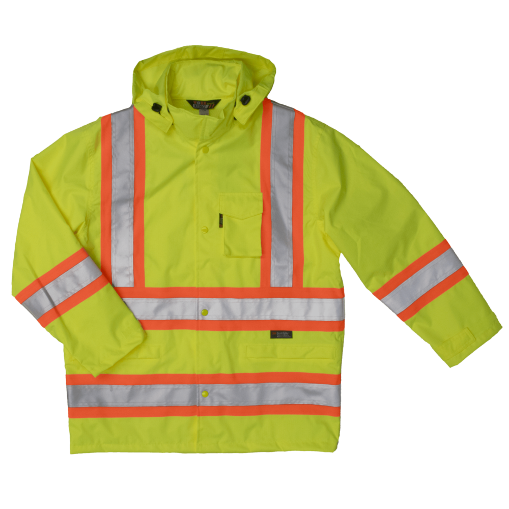 Work King Safety by Tough Duck Mens 300D Safety Rain Jacket Solid Green Front View S372