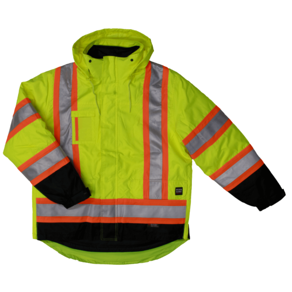 Work King Safety by Tough Duck Mens 5 in 1 Safety Jacket Fluorescent Green Front View S426