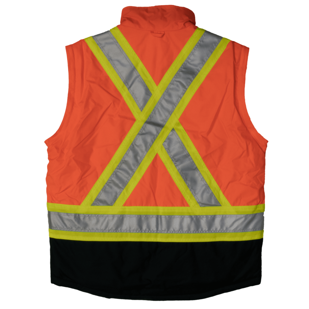 Work King Safety by Tough Duck Mens 5 in 1 Safety Jacket Fluorescent Orange Back Vest S426
