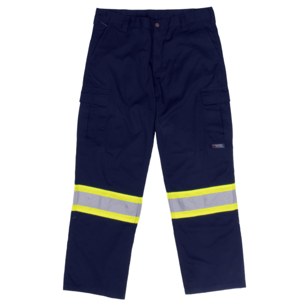 Work King Safety by Tough Duck Mens Hi Vis Twill Safety Cargo Work Pant Navy Front View S607