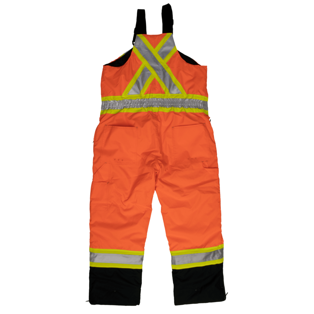 Work King Safety by Tough Duck Mens Waterproof Breathable Insulated Bib Overall Fluorescent Orange Back View S876