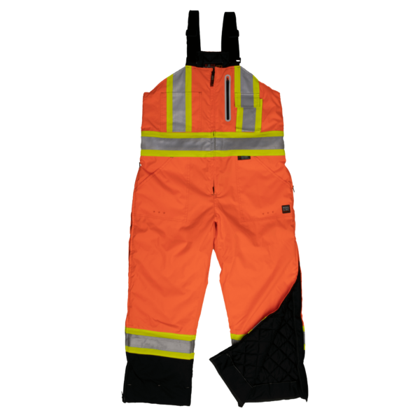 Work King Safety by Tough Duck Mens Waterproof Breathable Insulated Bib Overall Fluorescent Orange Front View S876