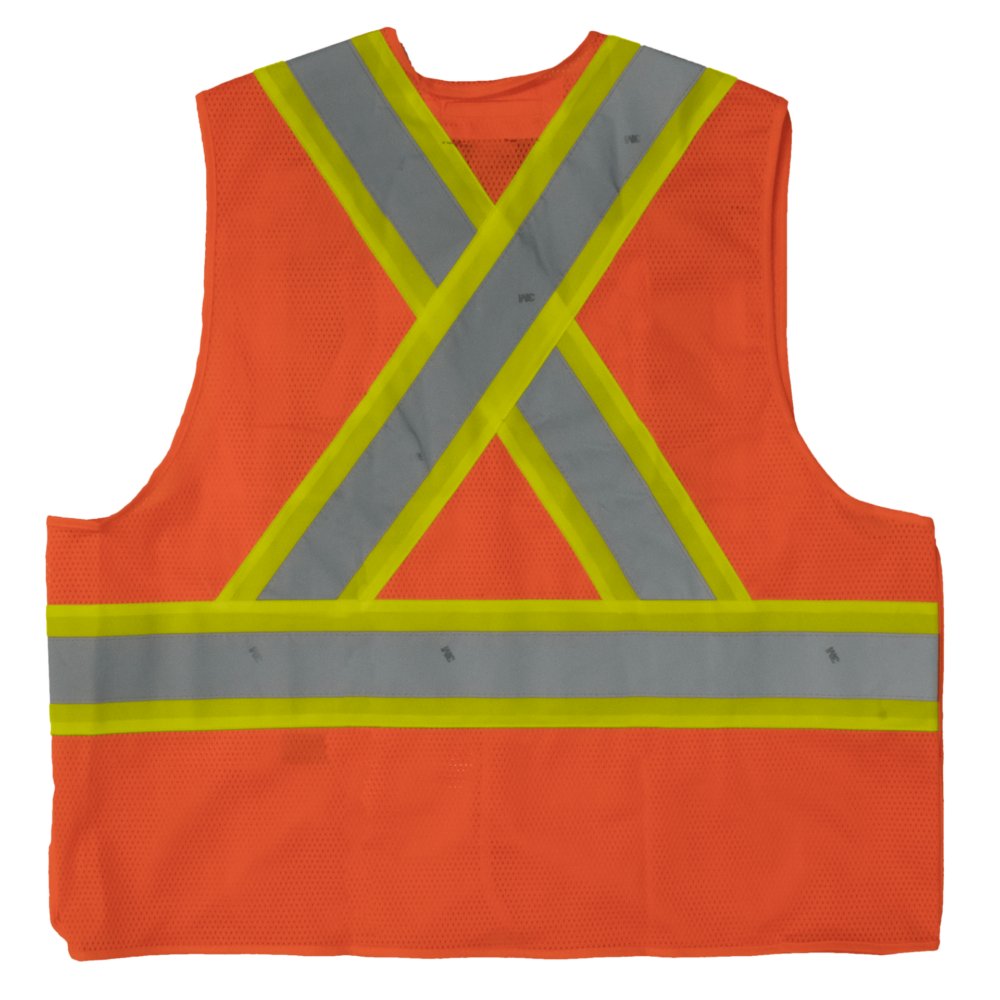 Work King Safety by Tough Duck Mens 5 Point Tearaway Vest Solid Orange Back S9i0