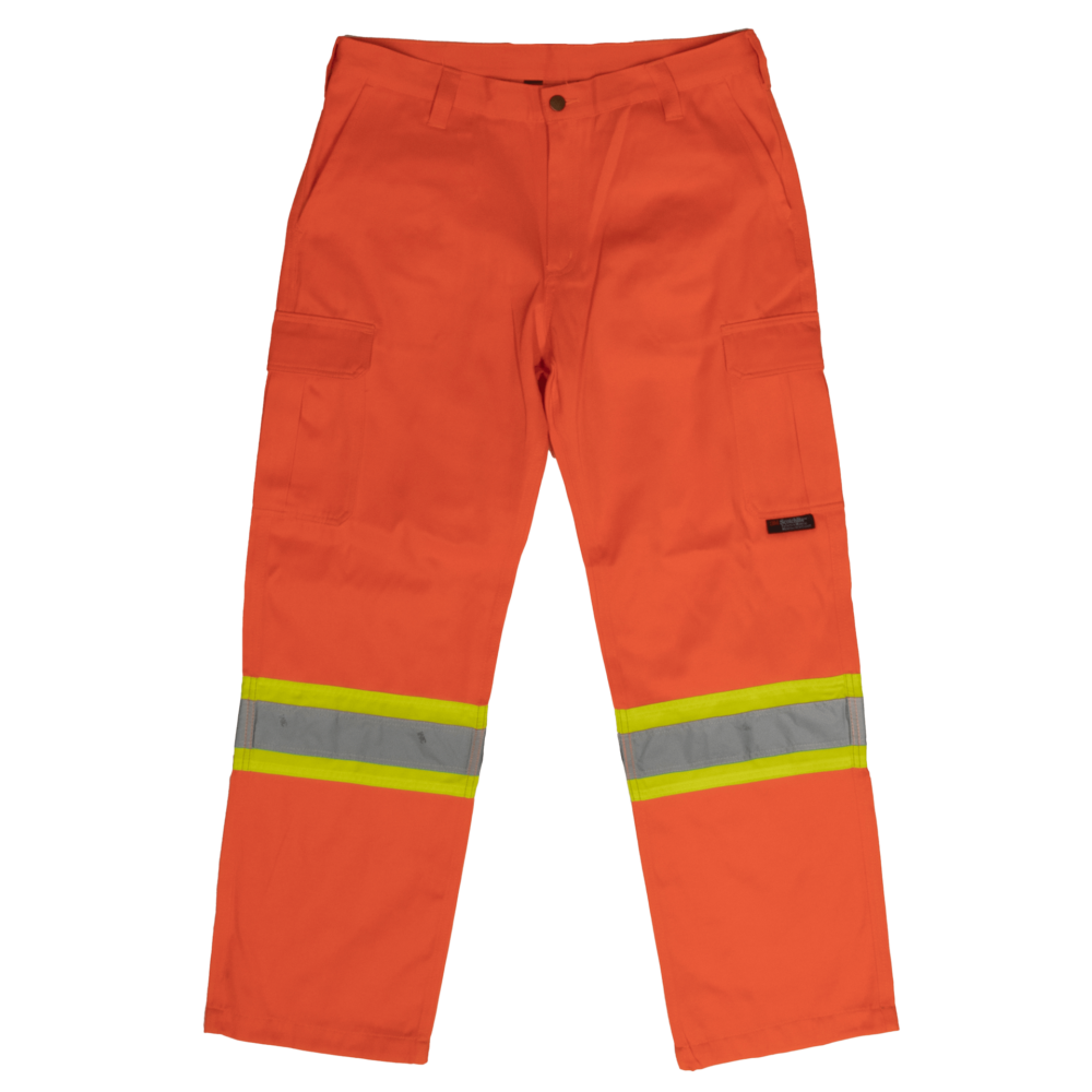 Work King Safety by Tough Duck Mens Hi Vis Safety Cargo Work Pant Solid Orange Front View SP01