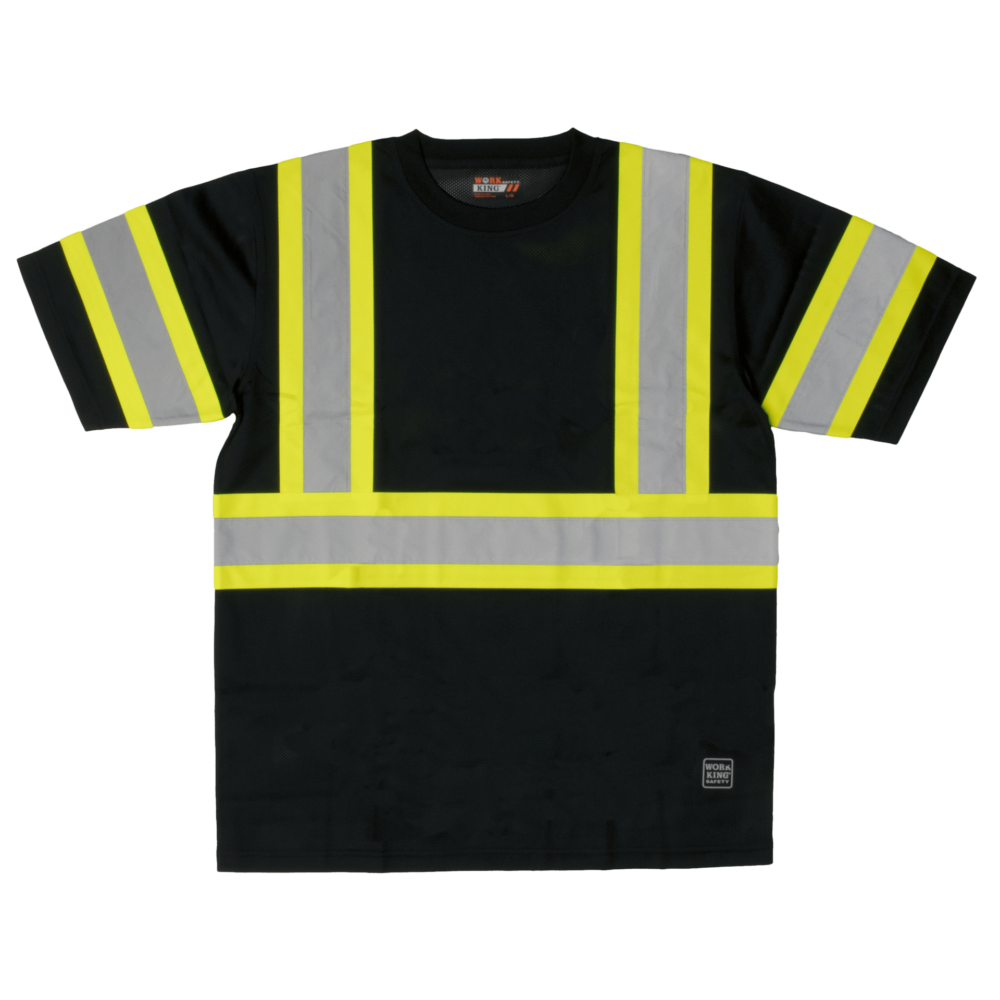 Work King Safety by Tough Duck Mens Short Sleeve Mesh Safety T Shirt with Armband Black Front View ST09