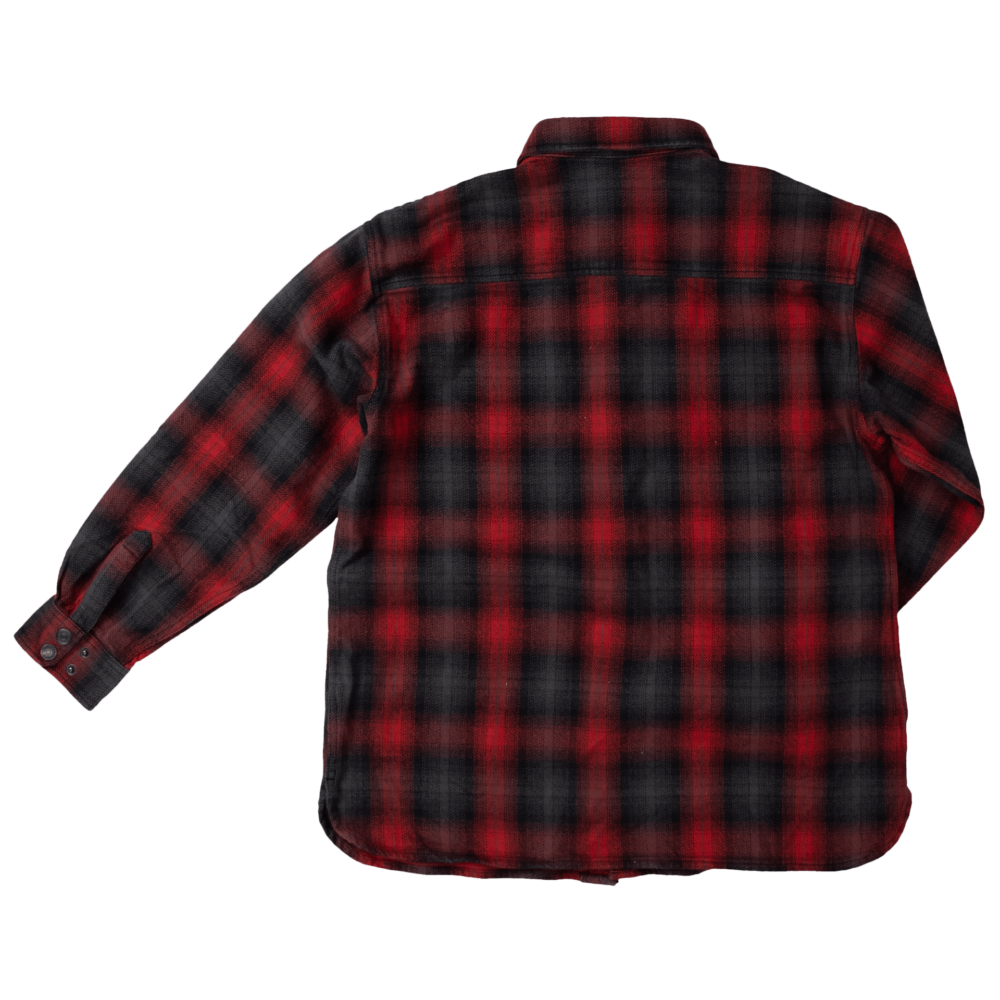 Tough Duck Flannel Overshirt Red Plaid Back View WS04