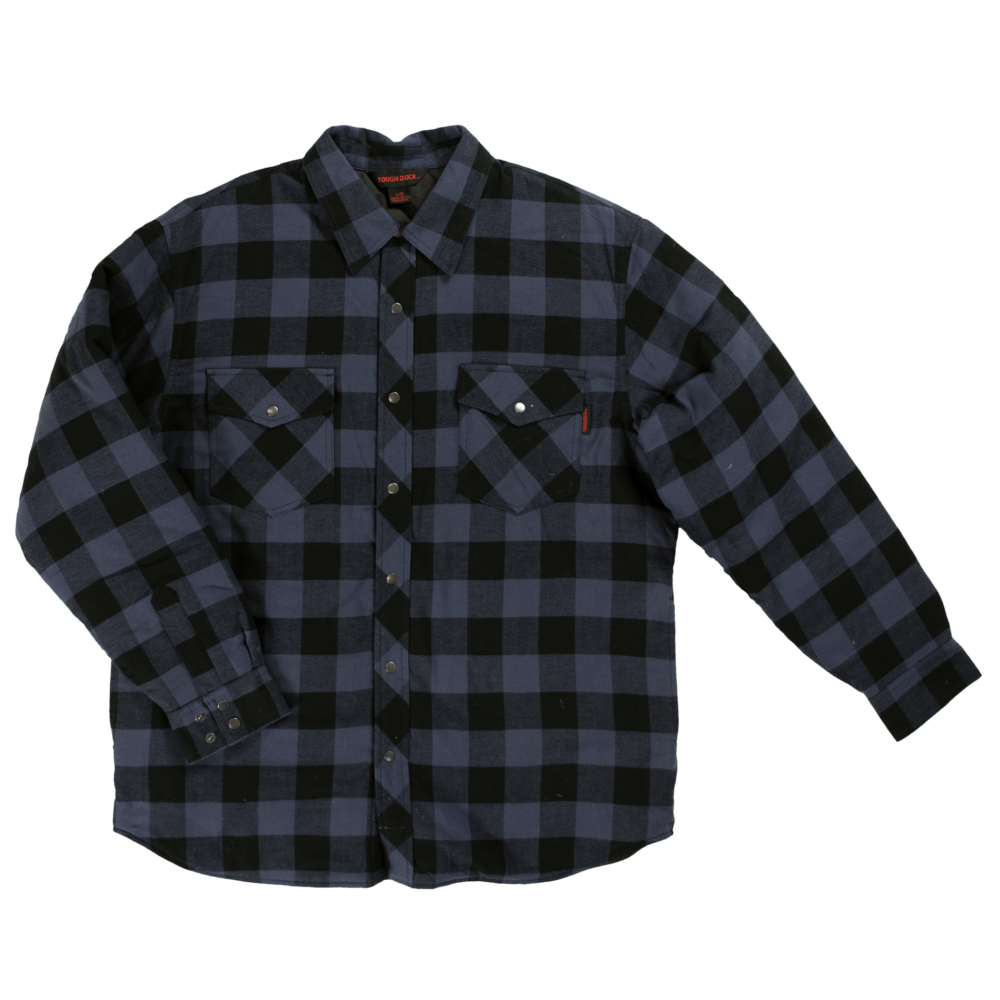 Tough Duck Mens Quilt Lined Flannel Shirt Blue Check Front View WS05