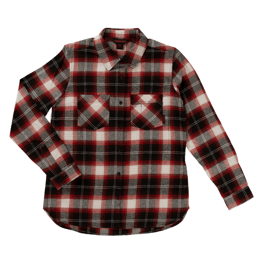 Tough Duck Womens Flannel Shirt Red Plaid Front View WS10