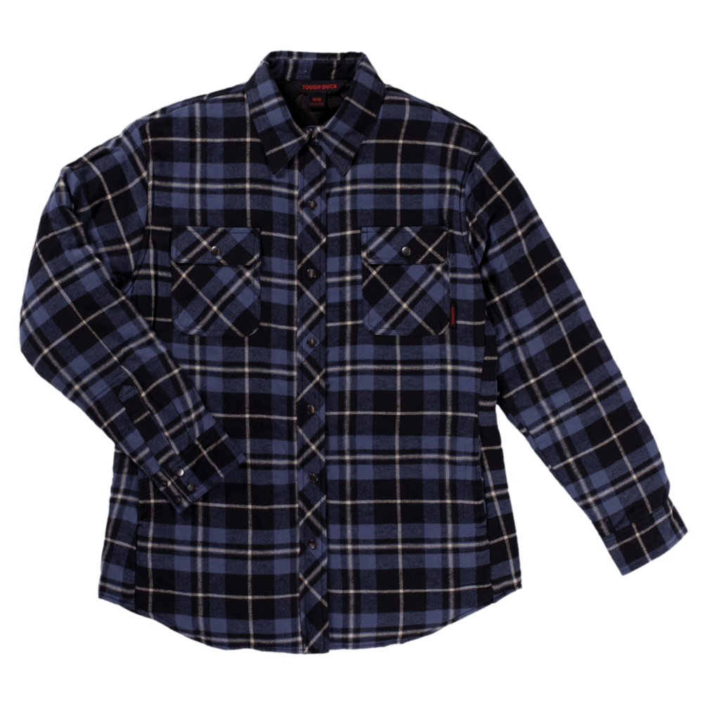 Tough Duck Womens Quilt Lined Flannel Shirt Navy Plaid Front View WS11