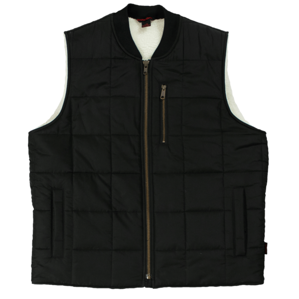 Tough Duck Mens Sherpa Lined Box Quilt Vest Black Front View WV01
