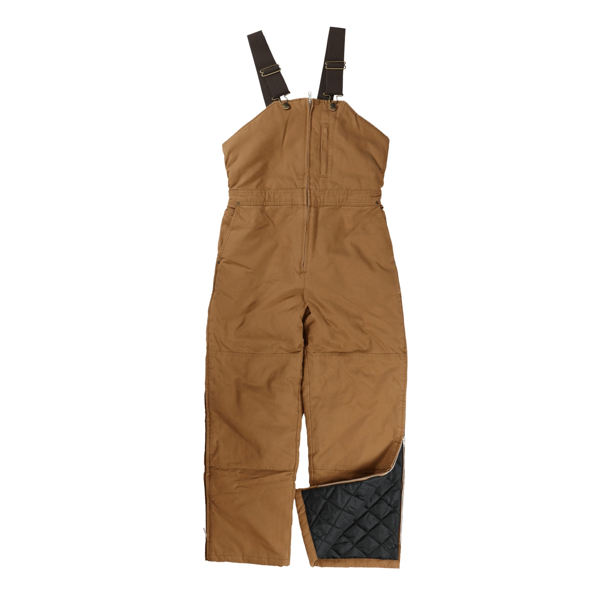 Tough Duck Womens Insulated Duck Overalls Brown Front View WB02