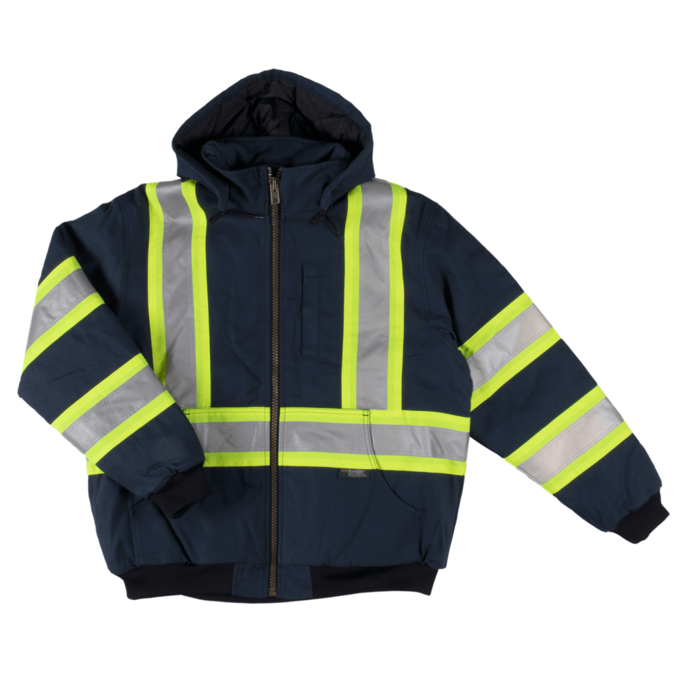 Tough Duck Men's Safety Bomber Navy Front View SJ25