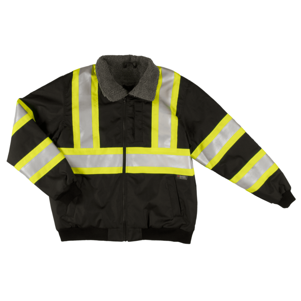 Tough Duck Men's Sherpa Lined Safety Bomber Black Front View SJ26