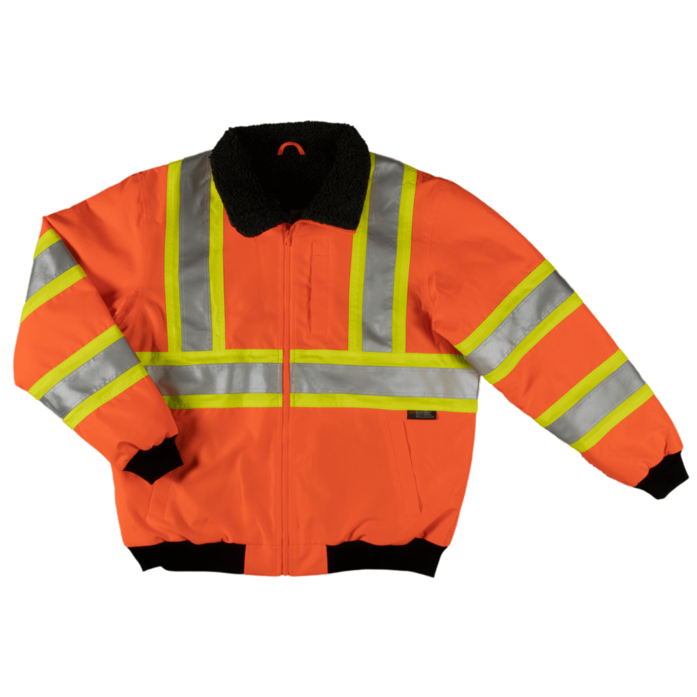 Tough Duck Men's Sherpa Lined Safety Bomber Fluorescent Orange Front View SJ26