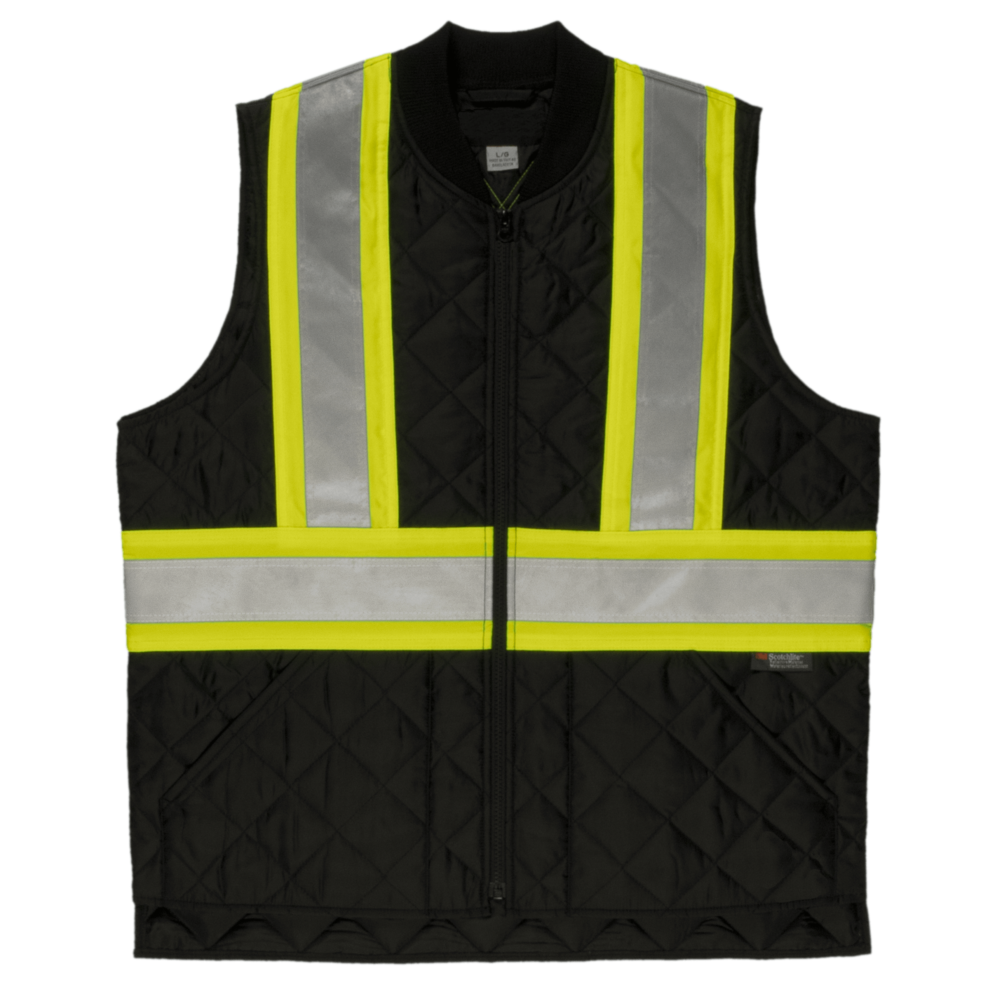 Tough Duck Men's Quilted Safety Vest Black Front View SV05