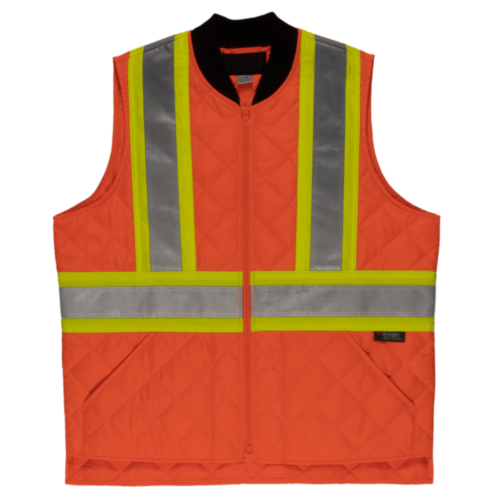 Tough Duck Men's Quilted Safety Vest Fluorescent Orange Front View SV05