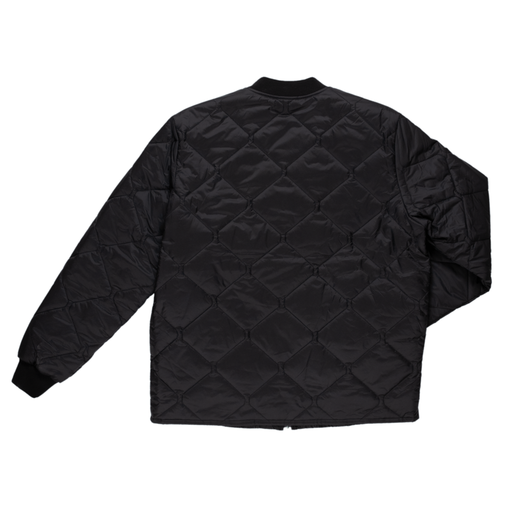 Tough Duck Mens Quilted Jacket Black Back View WJ16