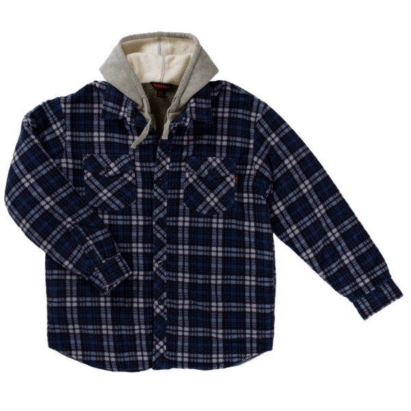 Tough Duck Mens Sherpa Lined Fleece Shirt Navy Plaid Front View WS02