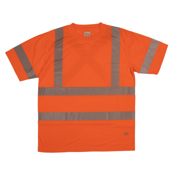 Tough Duck Short Sleeve Safety T Shirt Front View Fluorescent Orange ST12