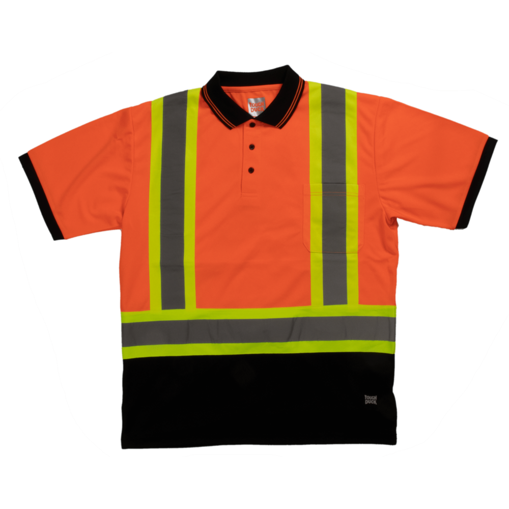 Tough Duck Short Sleeve Safety Polo Shirt Front View Fluorescent Orange ST17