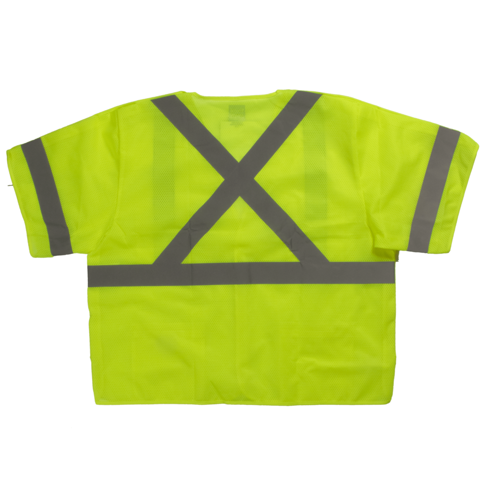 Tough Duck Safety Vest With Sleeves Back View Fluorescent Green SV07