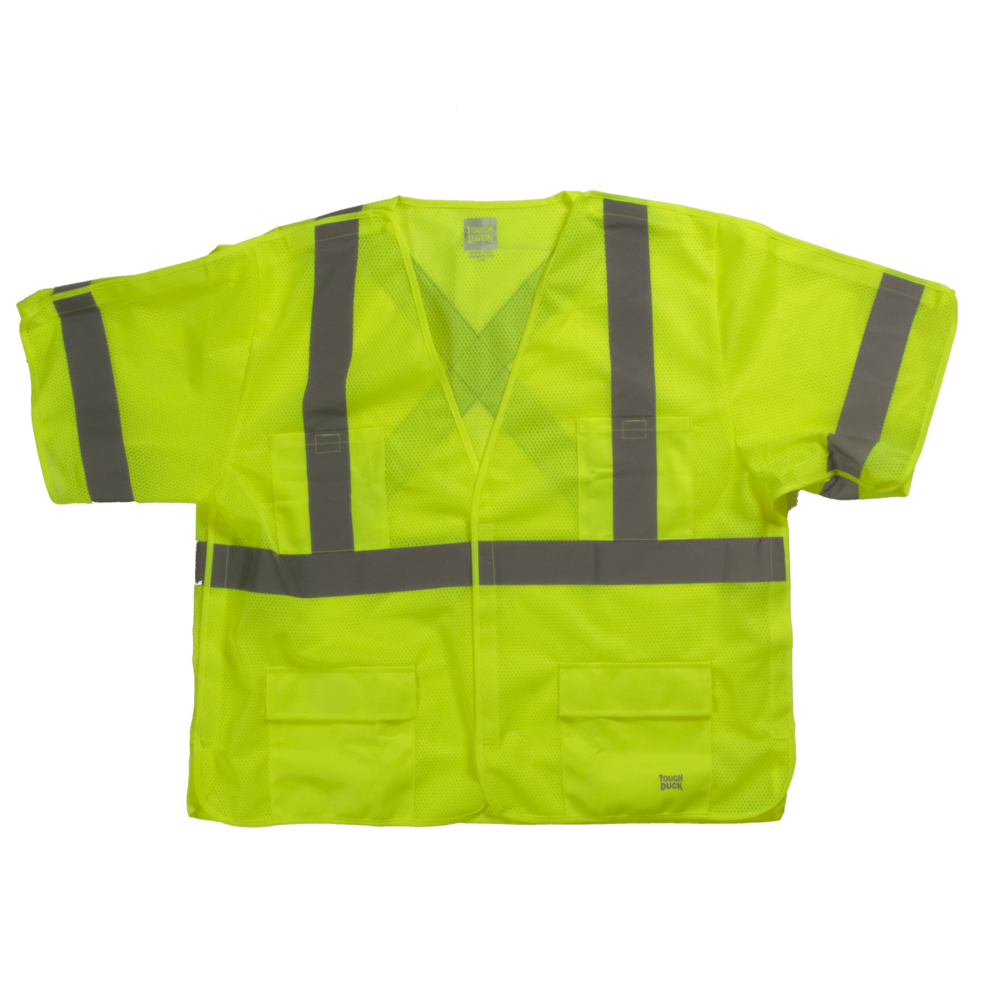 Tough Duck Safety Vest With Sleeves Front View Fluorescent Green SV07