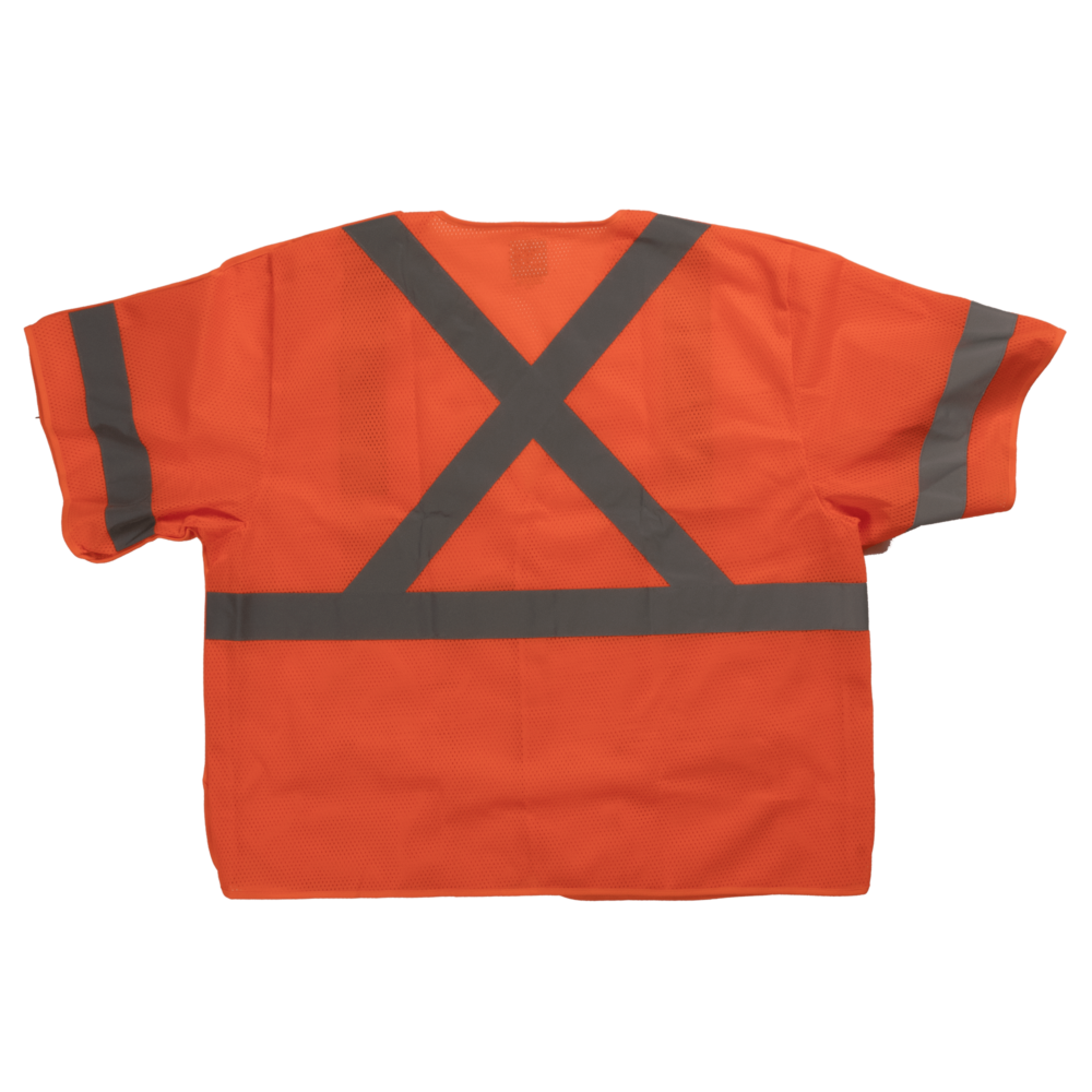 Tough Duck Safety Vest With Sleeves Back View Fluorescent Orange SV07