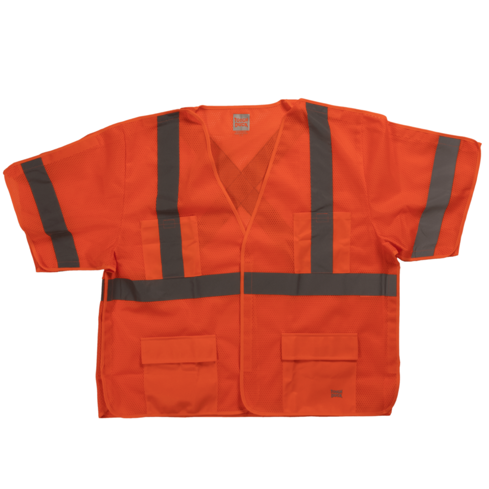 Tough Duck Safety Vest With Sleeves Front View Fluorescent Orange SV07