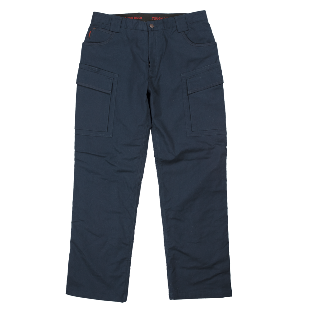 Tough Duck Mens Fleece Lined Flex Twill Cargo Pant Front View Navy WP06