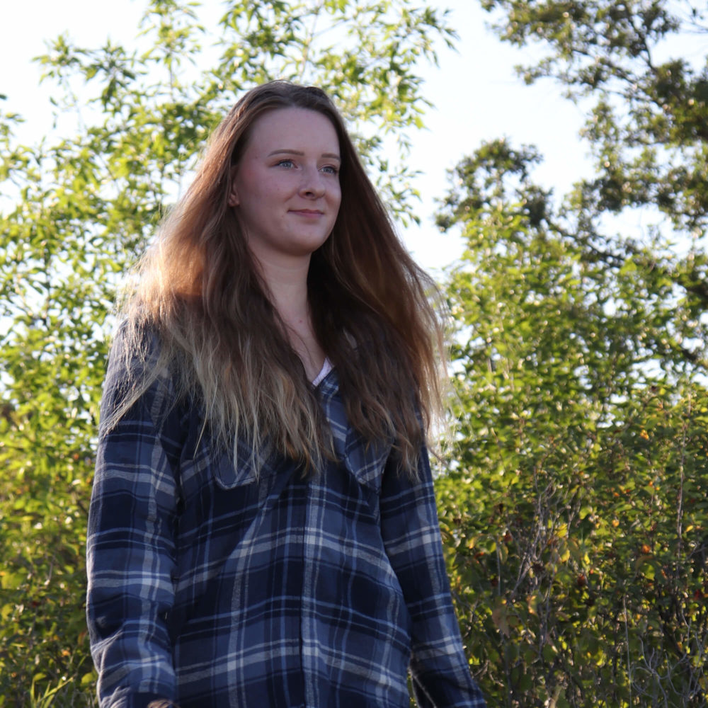 Young woman walking outdoor in WS12 Women's Plush Pile-Lined Flannel