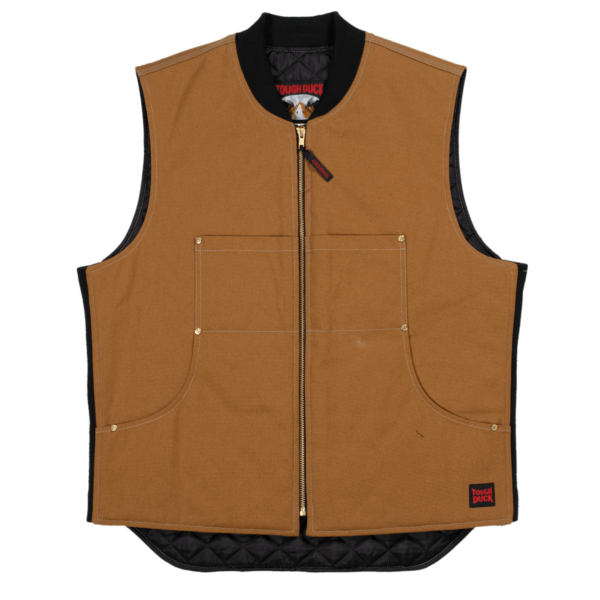 Tough Duck Mens Moto Vest Front View Brown WV04